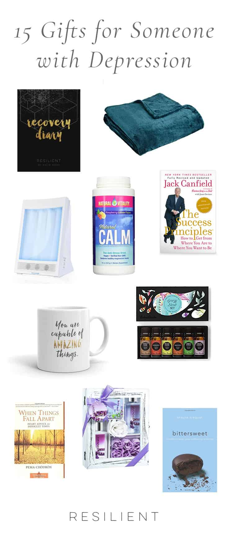 Depression sucks, but sometimes you can make it a little more bearable with a few comforting items or inspiring books. Here are 15 gifts for someone with depression that are sure to brighten their day.