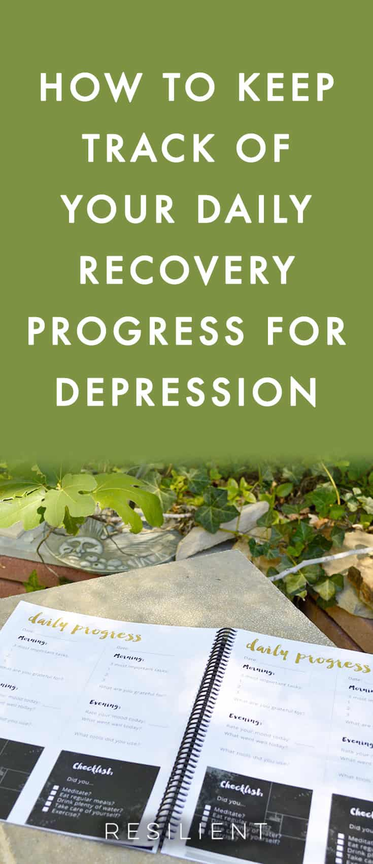 Are you looking for a way to keep track of your daily progress in recovering from depression?  Use our Recovery Diary to keep track of your recovery progress for depression and anxiety.