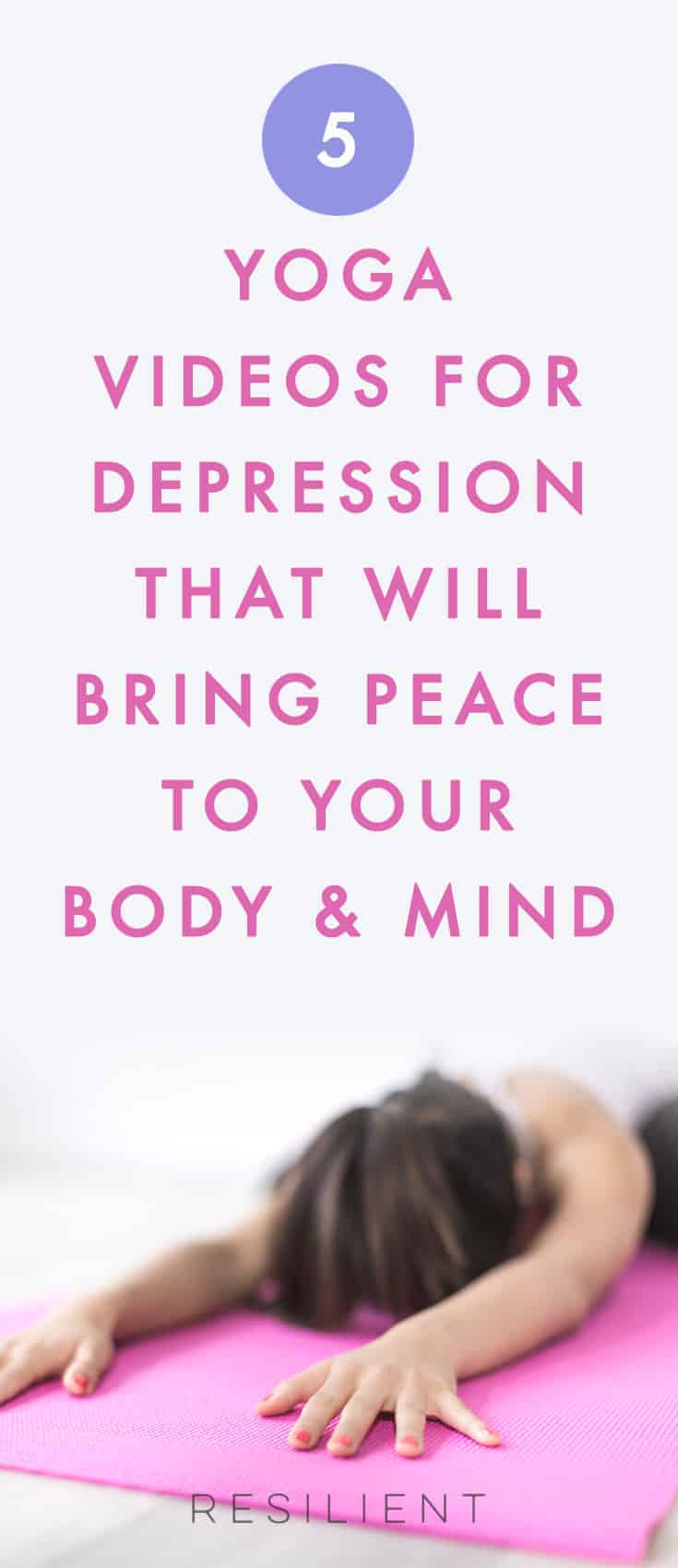 When you're depressed, it's important to get moving and keep your energy up but that's the last thing you want to do.  So if you're depressed, sometimes yoga is a gentle way to ease into movement that can help ease depression but doesn't take a ridiculous amount of energy to get started with.  Try these 5 yoga videos for depression to see if they help with your stress and depression.