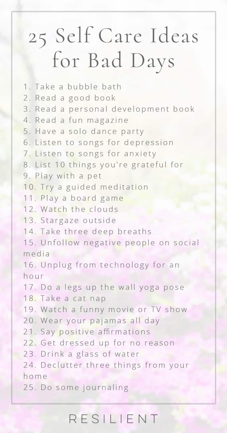 When bad days strike, it's nice to have a list of self care ideas you can pull out to help make things a little better, or even to proactively keep up with self care so you feel better in general. Here are 25 self care ideas for bad days. 😃 Feel free to bookmark this page for future reference!
