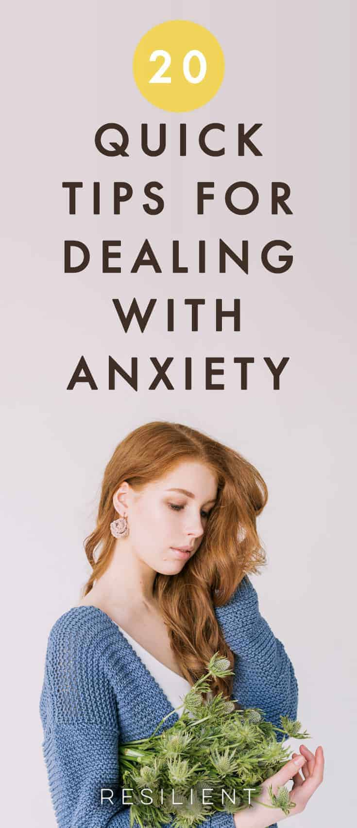 Anxiety is tough, but luckily there are a few tips for anxiety that can help make it a little easier. I've found that anxiety is usually actually trying to tell you something, so it can be helpful to let yourself feel your feelings first to figure out what's really going on.  Here are 20 quick tips for dealing with anxiety.