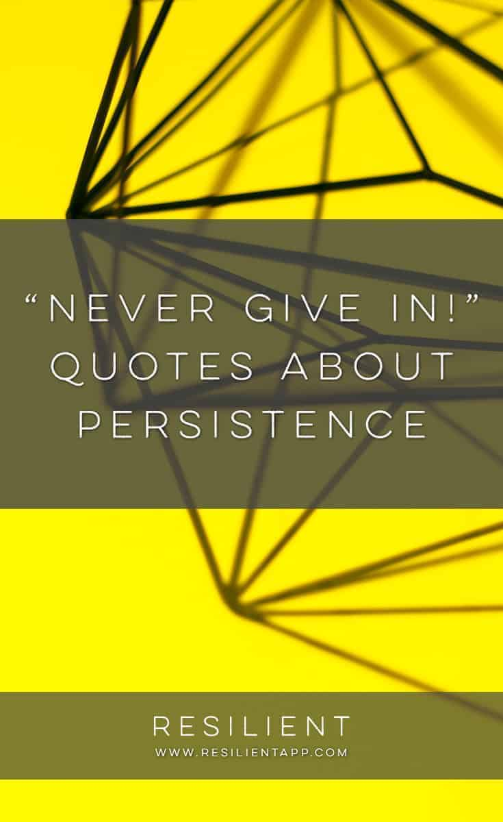 If you want to succeed in anything, you have to believe in yourself, work hard and keep going when times get tough. None of our leaders, heroes or idols got to where they are today without determination and an unwavering belief in their abilities. Here are several quotes about persistence.