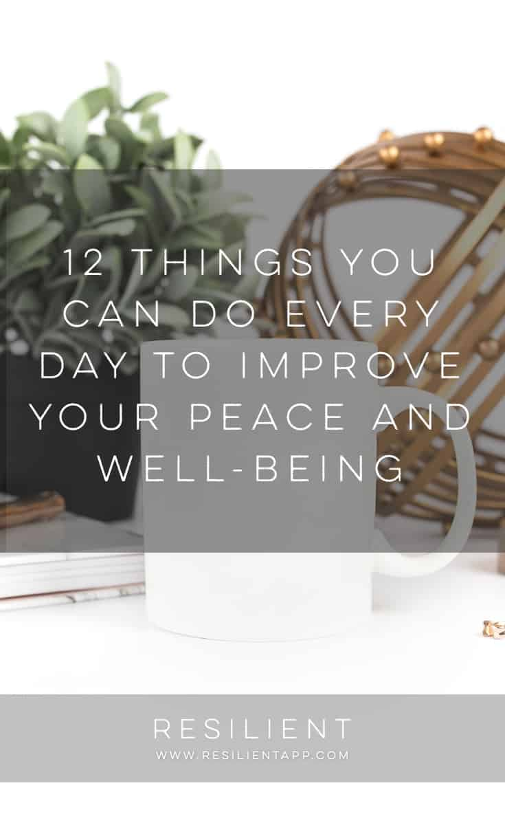 It is no secret that stress and anxiety are serious problems in the modern world. From the stresses of everyday family life to issues on the job, there are plenty of impediments to rest, relaxation and peace. Here are 12 things you can do every day to improve your peace and well-being.