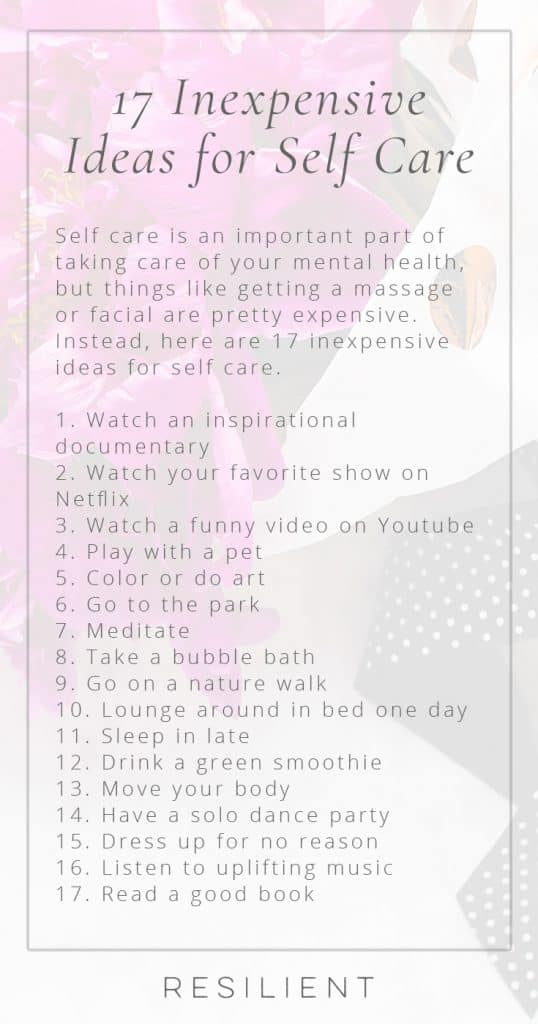 Inexpensive Ideas for Self Care