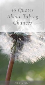 Half the fun of life is in taking chances and risks and doing new things that have the potential to be amazing. Here are 16 quotes about taking chances.