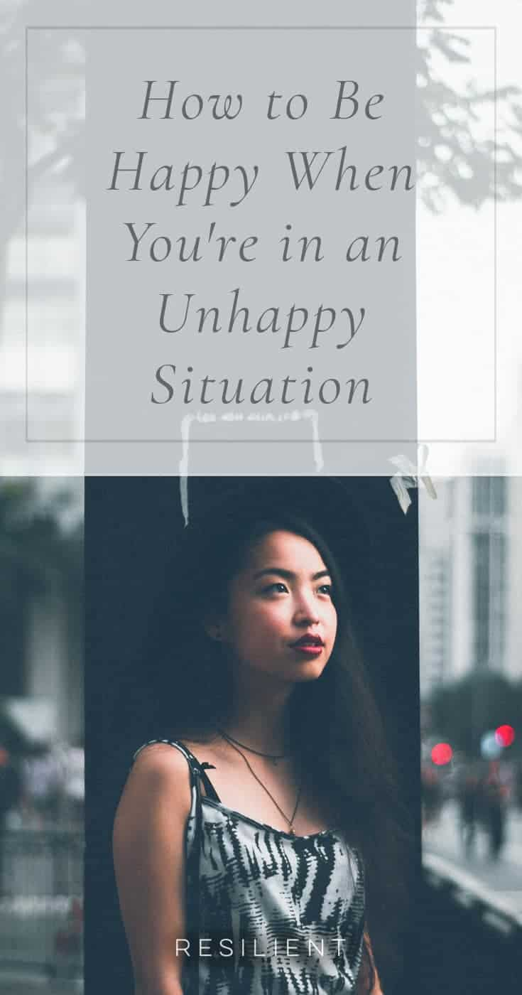 Sometimes life throws you into a miserable situation, and it can seem pretty dark. Just a few examples of unhappy situations: you lost a loved one, you received bad news, your finances are messed up, you're having a bad day at work, your partner is mad at you or has broken up with you, you're sick or really tired, you're in pain, someone has hurt you emotionally, or more. These are terrible, and it's normal to be pretty unhappy when things like this happen. You might wonder why life sucks right now. Why can't things be better? Here's how to be happy when you're in an unhappy situation.