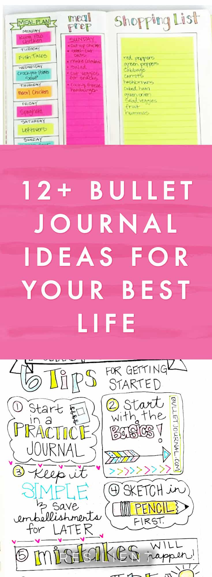 Have you heard of bullet journaling? It's a visual and creative approach to journaling that helps you keep track of things in your life and plan out your days and weeks visually on paper. It's like using a planner but you get to create your own pages however you want! Here are 12 bullet journal ideas for improving your life.