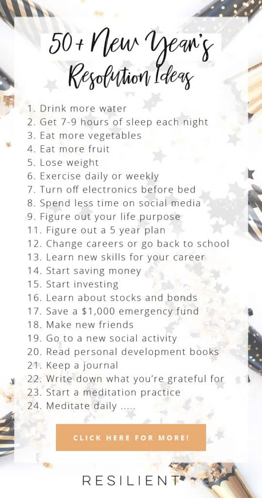 New Year's Resolution Ideas. | Feel free to share this infographic as long as you link back to this page on Resilient. :)